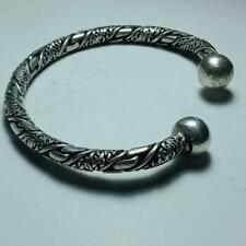Ntact-Ancient Rare Roman Silver Bracelet With Snake Heads Circa 100-300 Ad