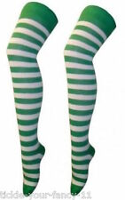 Verde Y Blanco con rayas en la rodilla calcetines Punk St Patricks Santa Elf Fútbol