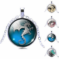 Newest Dragon Art Picture Glass Cabochon Pendant Necklace Women's Jewelry Gift
