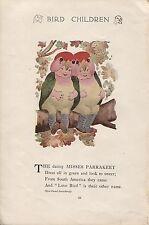 Elizabeth Gordon's Bird Children: Parakeet. M.T.Ross. 1912 lithograph print.
