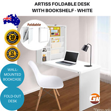 Artiss Foldable Desk with Bookshelf Craft Sewing Computer Office Table - White