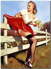 """New listing Vintage GIL ELVGREN Pinup Girl CANVAS PRINT Skirt troubles fence 8X10"""""""