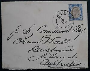 RARE 1904 Transvaal Cover ties 2 1/2d stamp canc Johannesburg to Australia