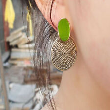 Women Vintage Bohemian Boho Style Big Round Beaded Dangle Alloy Earrings