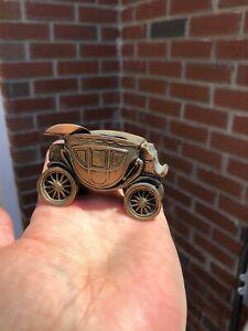 Vintage SMALL Mini BRASS Carriage ASHTRAY