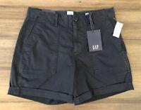 "GAP NWT Women's True Indigo Cuffed Cotton Blend 5"" High Rise Khaki Shorts-Size 0"