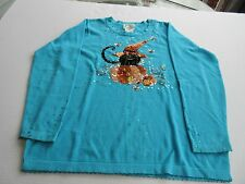 Quacker Factory Womens Large Turquoise Halloween  Pullover Sweater