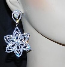 Christmas Gift Silver Tone Rhinestone Crystal Snowflake Chandelier Earrings