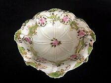 Nippon Hand Painted Pink Green Gold Floral 6 inch Decorative Trinket Bowl Dish