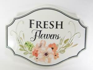 """""""Fresh Flowers """" Embossed Metal Wall Sign 16"""" L Contemparary Style Wall Art"""