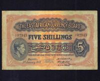 East Africa 5 Shillings 1938  P- 28  RARE