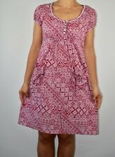 Nomads Aline Dress Red Cream Patterned Holiday Cotton Pockets Casual Size 10 AZ