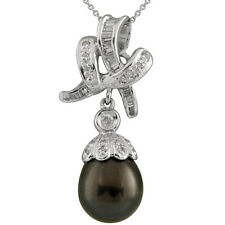 Fancy 18k white gold pendant with 10mm tahitian pearl and 0.24ct diamonds.