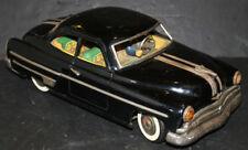 "Vintage Ichiko Large 14½"" Tin Friction Black Pontiac Toy Fat Car W/ Litho Driver"