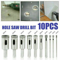 Diamond Hole Saw Drill Bit Set Glass Ceramic Tile Cutting Tool 10pcs 3-14mm