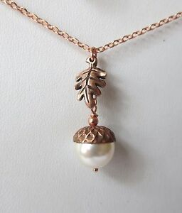 Rose Gold and Copper Acorn and Oak Leaf Necklace JH Fine Bead Jewelry Design