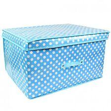 Foldable Storage Box Hamper - Blue Polka Dots