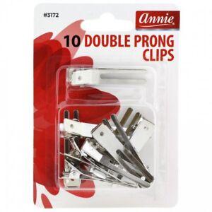 ANNIE DOUBLE PRONG CLIPS 10 PCS #3172 DURABLE METAL HAIR CLIP