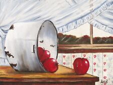 """""""Apples"""", high quality 9""""x12""""  oil print, great for the kitchen or dining area."""