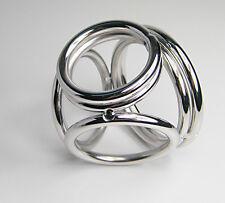 QUAD CAGE SOLID STEEL CHROME FINISH !! BALL SPLITTER PENIS RING