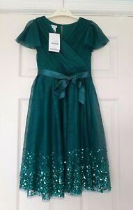 NEW Monsoon - Emerald Green Sequin Party Dress - Age 9 years
