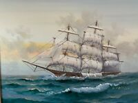 K Maskell Tall Ship Nautical Oil Painting
