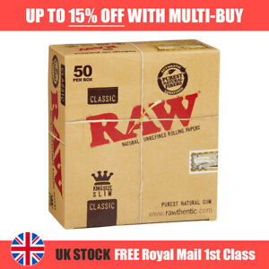 NEW RAW CLASSIC King Size Slim 110mm Natural Unrefined Rolling Papers AUTHENTIC