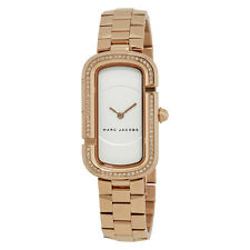 Marc Jacobs The Jacobs White Satin Dial Ladies Rose Gold Tone Watch MJ3533
