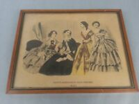 Antique Godey's Americanized Paris Fashions Wood Frame Print