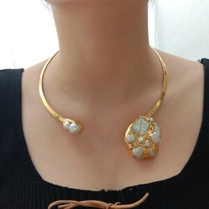 White Keshi Pearl 24 K Yellow Gold Plated Choker Necklace