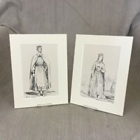 1842 Antico Impronte King Richard I Regina Costume Storico Periodo Moda