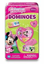 Disney Junior Minnie Mouse Bow-Tique Dominoes 28 Count Set With Metal Tin
