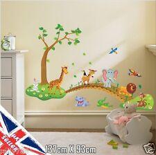 Animal Wall Stickers Monkey Tree Jungle Zoo Nursery Baby Kids Room Decal Art UK