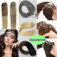 DOUBLE DRAWN 8A Remy Human Hair Extensions Loop Micro Rings Beads Tip Hair 1gr/s