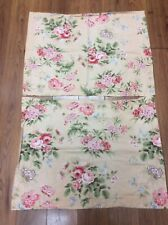 MARTHA STEWART SHAMS SET OF 2 PEACH FLORAL STANDARD SIZE ROSES REDS PINKS SWEET!