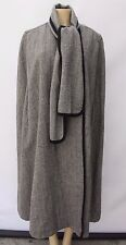 Vintage Wool Cape Coat Cloak Poncho Long Lined Black White Chevron One Size