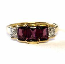 14k yellow gold .04ct womens diamond rhodolite garnet ring 3.1g ladies estate