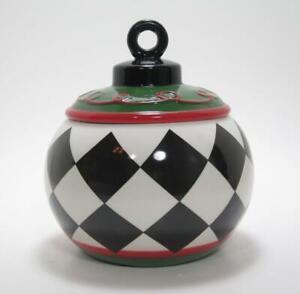 "Black & White Harlequin Checkered Ceramic Jar 6.5"" Tall Contemporary Style"