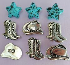 Silver Chapeaux & Bottes-Cowboy Shérif Rodeo Texas Stars Dress It Up Craft Boutons