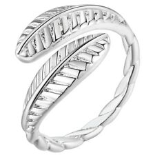 925 STERLING SILVER PLATED ADJUSTABLE FINGER  RING FOR WOMEN SILVER FEATHER