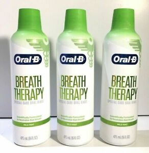 Lot of 3 LOT ORAL-B BREATH THERAPY SPECIAL CARE ORAL RINSE MILD MINT 16oz