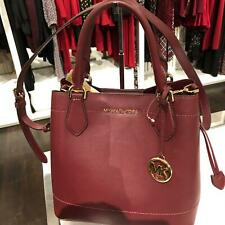 Michael Kors Women Eden Large Tote Grab Handbag Leather Crossbody MERLOT