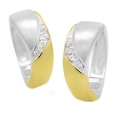 Ohrringe Creole Silber 925 teilvergoldet  mit Zirkonia weiss Creolen zweifarbig
