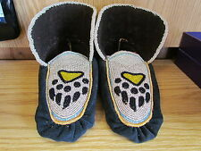 FULLY BEADED MOCCASINS, 9 INCHES, BLACK & YELLOW BEAR CLAW, SHOWY SILVER BEADING