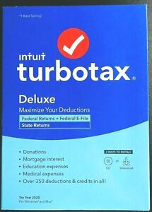 NEW SEALED TURBOTAX DELUXE 2020 TAX SOFTWARE FEDERAL/STATE/E-FILE WINDOWS MAC CD