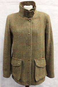 Ladies Mustard/Brown Harris Tweed 4 Pocket Field Coat Size M (UK 14)