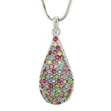 "W Swarovski Crystal Tear Drop Love Multicolor New Pendant Necklace 18"" Chain"