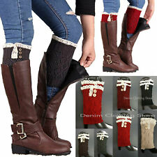 Women Crochet Knitted Lace Button Trim Boot Cuffs Topper Leg Warmer Winter Socks