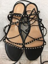 Gianvitto Rossi Sandals  Black And Silver Studded Strappy Ties   Size 40