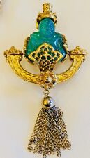 RARE VINTAGE GREEN LUCITE / RESIN BUDDHA FIGURAL PIN BROOCH